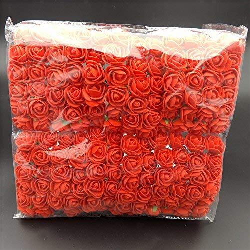 ASOSMOS 144 Teile/Packung Mini Schaum Künstlich Rose Blume Bukett Hochzeit Dekor Handwerk Vorräte - Rot