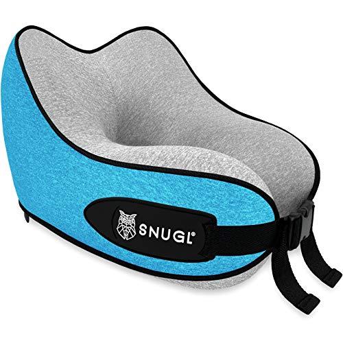 Almohada de Viaje SNUGL para niños - Cojín de Espuma de Memoria de Diseño Ergonómico Premium - Avión, Tren o automóvil - Bolsa de Viaje con mosquetón Incluido (Azul Coral/Gris)
