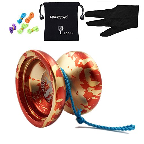 MAGICYOYO Authentic N12 Shark Honor Yo-yos with Bag+ 5 Strings + Glove for Gift Toy yoyo, Aluminum (Red with Golden)