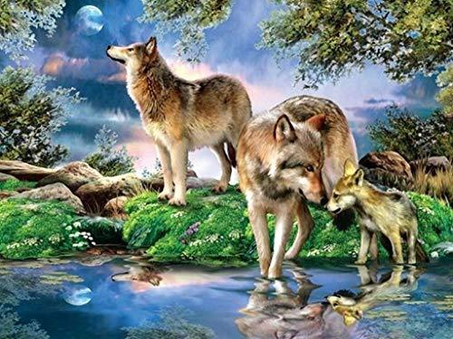 fancjj Puzzle 1000 Piezas-Lobo Junto al río Puzzle de Madera para Adolescentes y Adultos, Muy Buen Juego educativo50x75cm(20x30 Pulgadas)