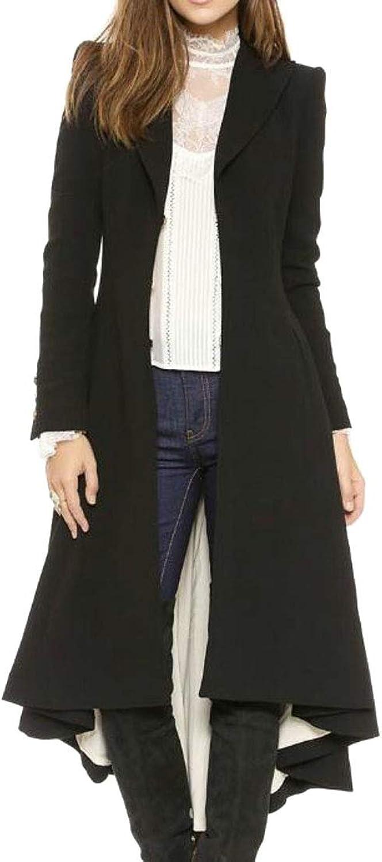 Nanquan Women Solid Lapel Lapel Swallowtail Pea Coat Overcoat