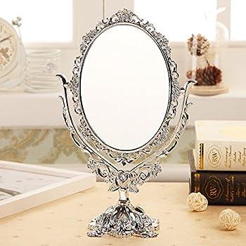 Arterameferro Miroir de table en laiton poli avec base de style baroque