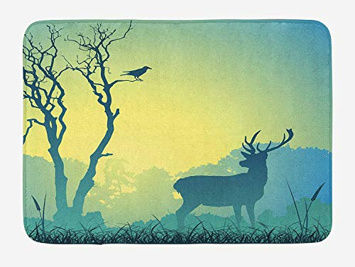 Antlers Bath Mat, Male Stag Deer on a Meadow with Trees and Bird Foggy Silhouettes Panorama, Plush Bathroom Decor Mat with Non Slip Backing, 23.6 W X 15.7 W inches, Pale Green Blue