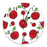 YUYANG Reloj de Pared hojas fruta manzana roja 30 cm reloj pared silencioso para coración habitación niños con dibujos animados bonitos Cocina Oficina Sala del Hogar Regalos Reloj de Pared