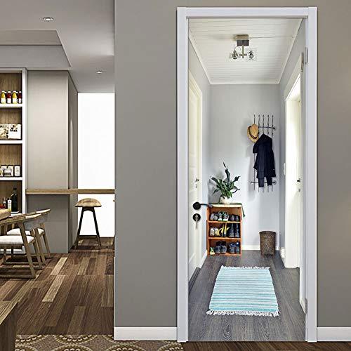 Canvas deur behang muurschilderingen 3D Gezellige huisje deur behang Sticker Zelfklevende Vinyl Verwijderbare kunst deur Decals voor huisdecoratie 30.3x78.7