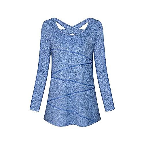 JELLYB Tops Mujer Cómodo Ocio Transpirable Suelto Sudadera De Secado Rápido Cuello Redondo Halter Ropa De Yoga Ropa De Entrenamiento Mujer Camiseta B-Blue XL