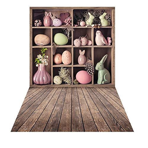 150x220cm Oude houten kist decoraties voor Pasen Photocall fotoshoot porselein Bunny voorjaar fotografie achtergrond eieren portret achtergrond
