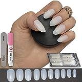 600 Stück ovale, künstliche Nägel in 10 Größen - künstliche Fingernagelspitzen, mittelgroß, voll deckend, natürliche undurchsichtige Acrylnägel für Nagelstudios und DIY-Nailart - einschließlich Kleber