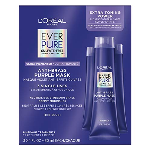 L'Oreal Paris EverPure Sulfate Free, Ultra Pigmented Anti Brass Purple Mask Rinse Out Treatment, Neutralizes Brass and Deeply Nourishes, bleached, blonde or highlighted hair, 3 fl. oz.
