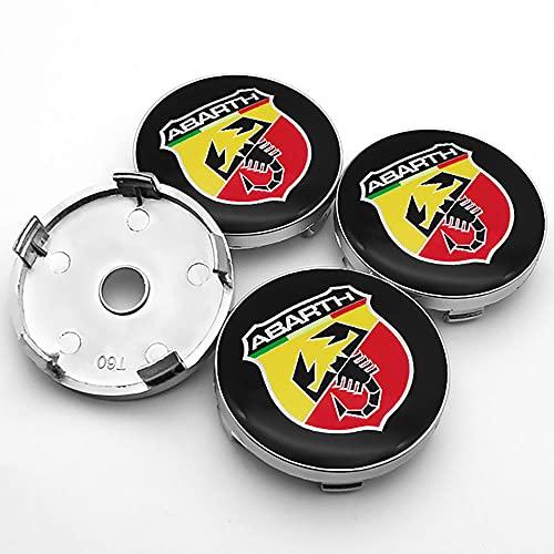 QUXING 4 Piezas Tapas Centro Tapacubos, para Fiat Abarth 500 500x 595 1100 Stilo Ducato Palio 60mm Rueda Emblema Logo Insignia Llantas centrales Emblema Accesorios
