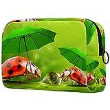 Bolsa de Maquillaje de Viaje cosméticos pequeñas para Mujer Cremallera portátil de Gran capacidadLittle Ladybug con Paraguas Caminando para el Uso Diario del Bolso
