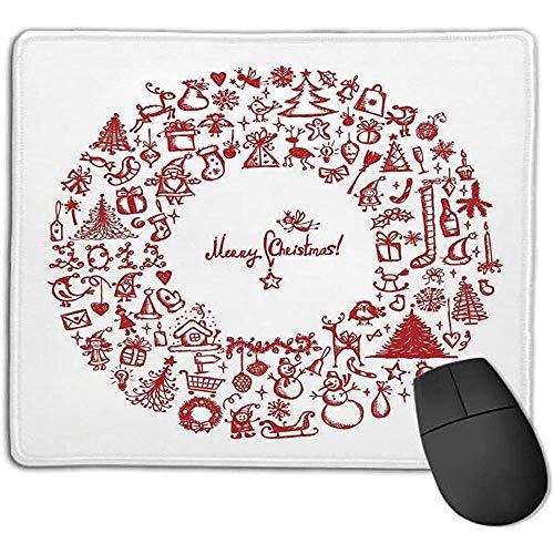 Mouse Pad Weihnachten Vintage Frohe Weihnachten Kranz mit Mehreren Noel Yule Icons Bänder Kerzen Glocken Bild Rot l Office Mous