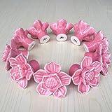 SunKni 41mm 10Pcs Lotus Flower Floral Knobs Ceramic Handles Pulls for Dresser Drawer Bathroom Cabinet Kitchen Cupboard Wardrobe Closet Furniture Door New Set with Screws 10 Pack (Pink)