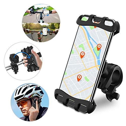 Keten Fahrrad Handyhalterung, Abnehmbar & 360° Drehbarer Mobiler Silikon-Halter für Motorrad/Roller/Stroller, Kompatibel MitiPhone X Xr Xs Max Samsung S9+ S10+ Plus (Schwarz)