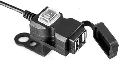 Chargeur double USB pour guidon de moto - Étanche - Charge rapide 3.0 - Prise de courant double USB - Noir
