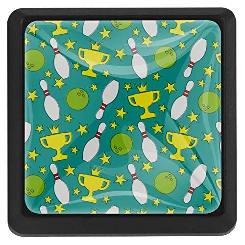 FCZ Schubladenknöpfe, Bowlingkugel-Muster, Kristall-Glas, quadratische Form, mit Schrauben, für Zuhause, Küche, Büro, 3 Stück