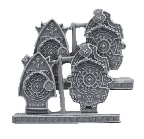 Scibor MM 28mm Miniature Conversion Parts Celtic Decorated Plates #8 (4)