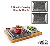 Artestia Double Cooking Stones in One Sizzling Hot Stone Set,Stainless Steel Tray,Bamboo...