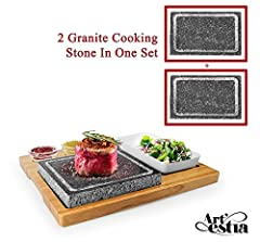 Double Stones! Extend the grill fun! Simply heat the stones in an oven or stove top to be sizzling hot, ready to serve on the table to cook a perfect meal. Model number AR-88021 Grill like professional chef! You control exactly how the steak is cooke...