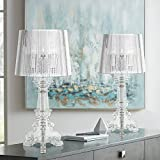 Baroque Antique Victorian Style Accent Table Lamps Set of 2 Clear Acrylic See Through Base Drum Shade Decor for Living Room Bedroom House Bedside Nightstand Home Office Family - 360 Lighting