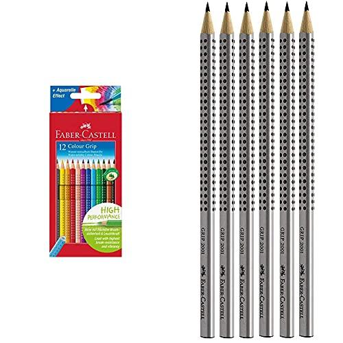 Faber Castell 112412 Estuche de cartón con 12 Ecolápices triangulares de colores, agarre Grip, acuarelables, lápices escolares + 2001 Set de 6 lápices (dureza HB, con agarre ergonómico) (117697)