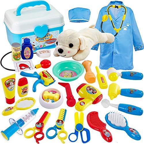 Buyger 26 Stück Arztkoffer Tierarzt Kinder Hund Spielzeug Arztkittel Rollenspiele Geschenke für Mädchen Junge