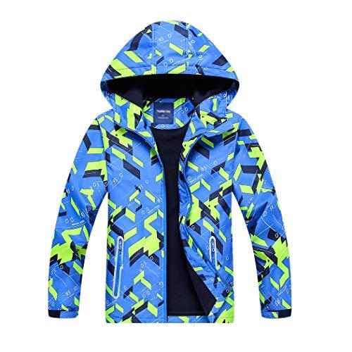 YoungSoul Jungen Gefütterte Regenjacke Gemusterte Wasserdicht Winddicht Windjacke Regenmantel mit Kapuze Blau Etikette XL