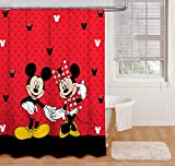 Disney Duschvorhang mit Mickey Maus & Minnie Maus, 177,8 x 182,9 cm, aus Stoff, Red Shower Curtain, Includes (1) Fabric Shower Curtain
