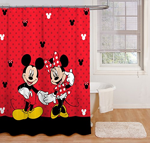 Disney Duschvorhang mit Mickey Maus und Minnie Maus, 177,8 x 182,9 cm, aus Stoff, Red Shower Curtain, Includes (1) Fabric Shower Curtain