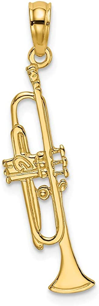 Solid 14k Yellow Gold TRUMPET Charm Pendant - 22mm x 6mm