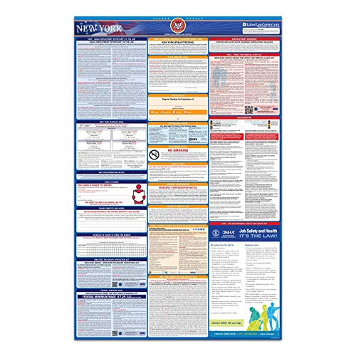 NY Labor Law Poster, 2021 Edition - State, Federal and OSHA Compliant Laminated Poster (New York) (English & Spanish Bundle)