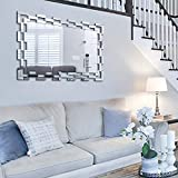Chende Large Wall Mirror with Glass Frame, 35.4''X23.6'' Rectangular Decorative Mirror for Wall Decor, Modern Accent Mirror for Living Room, Foyer, Bedroom