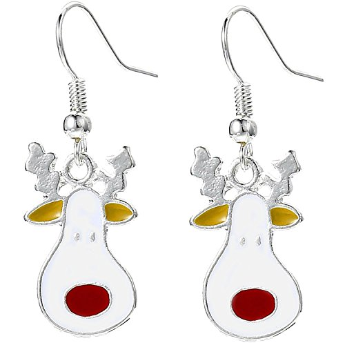 Charm Buddy Rudolph Red Nosed Reindeer Drop Dangly Earrings with Gift Bag Womens Girls Christmas Jewellery