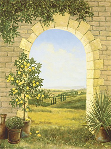 Artland Qualitätsbilder I Poster Kunstdruck Bilder 60 x 80 cm Landschaften Fensterblick Malerei Creme A6CZ Zitronenbaum vorm Torbogen II