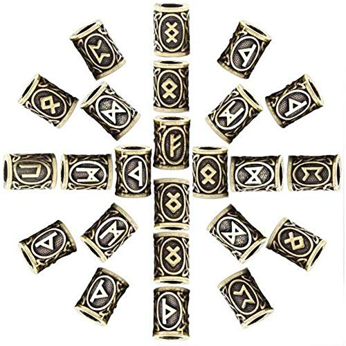 QTMHT 24PCS Runa De Viking Barbas De Bricolaje para Los Granos Trenzas Colgantes Pulseras Anillo Accesorios Accesorios del Grano del Oro Regalo