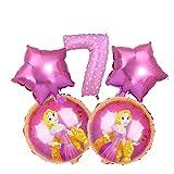 QIANGQSM 5 unids/Set Belle Snow Blanco Princesa Globos Fiesta de cumpleaños Decoraciones de Aluminio Número Número Balloons Niños Juguetes Globo Globo (Color : Style 18)