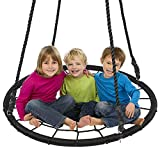 """Display4top Outdoor Swing, Giant 40"""" Round Web Tree Net Swing Swing Set Anchors Hanging Ropes 400 lbs Capacity, Adjustable length hanging ropes Easy Install (Black)"""