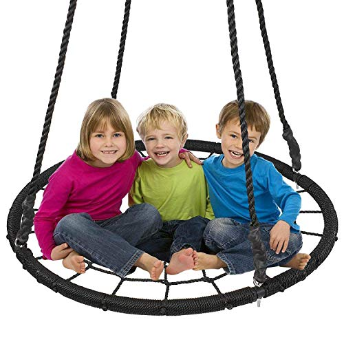 Display4top Outdoor Swing, Giant 40' Round Web Tree Net Swing Swing Set Anchors Hanging Ropes 400 lbs Capacity, Adjustable length hanging ropes Easy Install (Black)