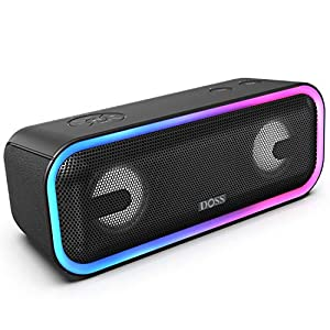Wireless Bluetooth Speaker with 24W Impressive Sound, Booming Bass, Wireless Stereo Paring, Mixed Colors Lights, IPX5 Waterproof, 15 Hrs Battery Life, 66 ft Bluetooth Range