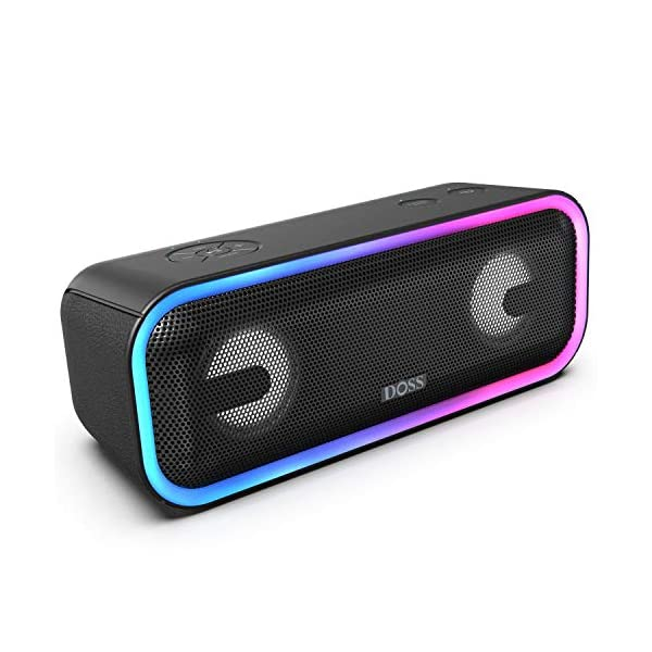 Wireless Bluetooth Speaker with 24W Impressive Sound, Booming Bass, Wireless Stereo Paring, Mixed Colors Lights, IPX5 Waterproof, 15 Hrs Battery Life, 66 ft Bluetooth Range 3