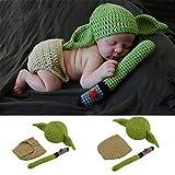 Disfraz de fotografía para bebé recién Nacido Fotografía Ropa recién Nacido bebé Fotografía Yoda Maestro Modelado Traje Suave de fotografía para bebés (Color : Green, Size : One Size)