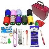 Coralpearl Deluxe Basic kit da cucito scatola piccola vintage Storage Bag organizer per ragazza bambini, donne uomini adulti, da viaggio, per principianti, forniture di emergenza,Hot Pink