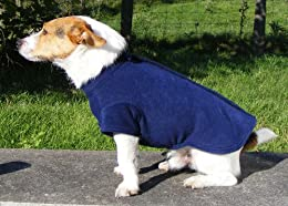 Blue Polar Fleece Jumper / Coats for Dogs with Velco down the back for easy fitting. Jack Russell 12.5 inch