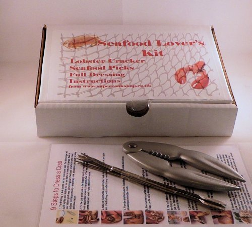 Bonzza - Set für Essen Krabbe und Hummer, Pinzette und 4Essstäbchen rostfrei mit Anleitung für Dressing Hummer und Krabbe