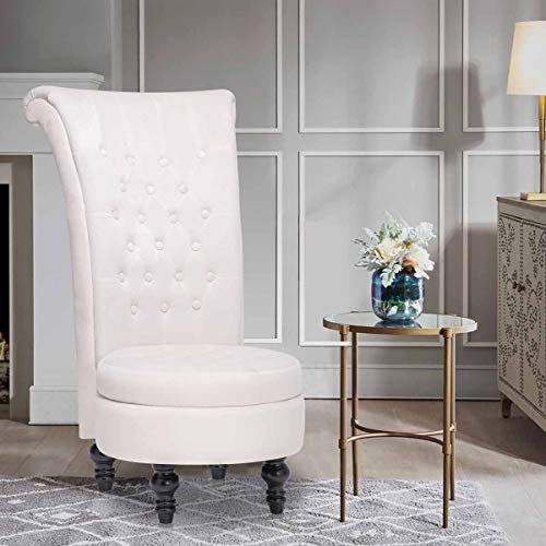 High Back Armless Chair Queen Throne Chairs with Storage for...