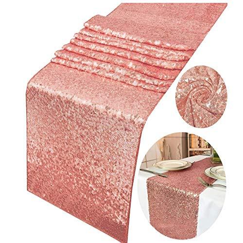 Limeow Corredor con Tela de Lentejuelas con Purpurina Mantel de Lentejuelas de Oro Rosa a Rayas Corredores De Mesa Brillo Brillante Mantel para Bodas Cumpleaños Fiesta de La Cena Decoración 1Oro Rosa
