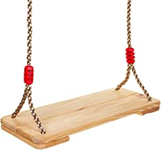 Fun Tree Swing Outdoor Wooden Hanging Swings for Kids to Adults, 220 lbs Capacity with Nylon Rope