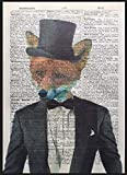 Fox Vintage Dictionary Page Print Wall Art Picture Hipster
