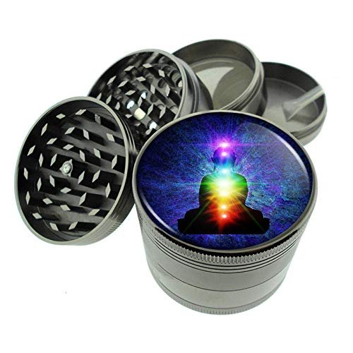 Chakra Art Em3 Titanium Zinc 2.1in Magnetic Metal Herb Grinder 4 Piece Hand Muller Spices & Herb Heavy Duty