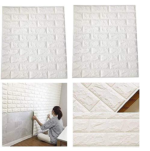 Lukzer Self-Adhesive 3D Foam Brick Waterproof Wallpaper Wall Sticker (White 70 x 77 cm) -2 Pcs